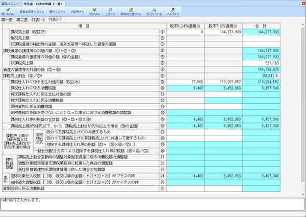 消費 税 申告 書 付表