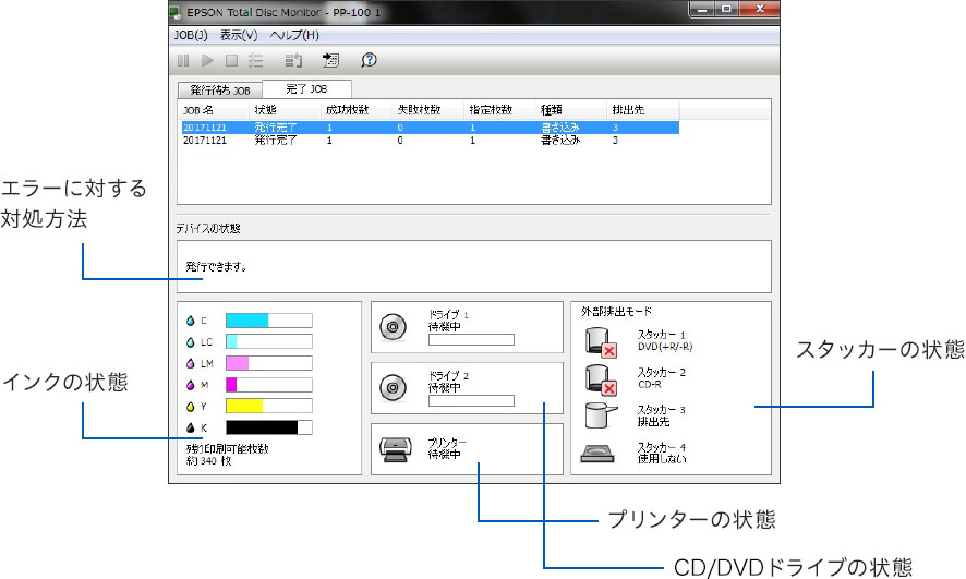 EPSON Total Disc Monitor(WindowsR)画面