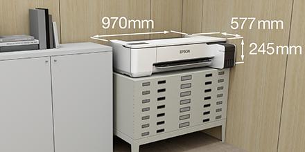 一般的なオフィスデスクにもおける約0.56m²の設置面積