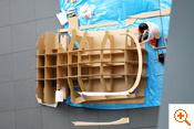 写真:中枠骨組みの調整